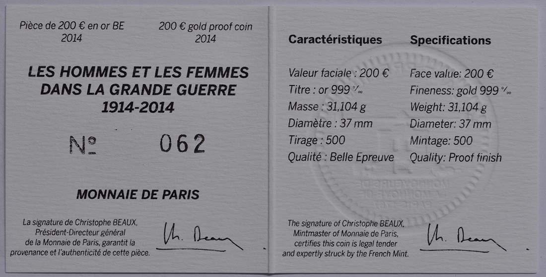 Zertifikat:Frankreich : 200 Euro Frankreich im 1. Weltkrieg  2014 PP