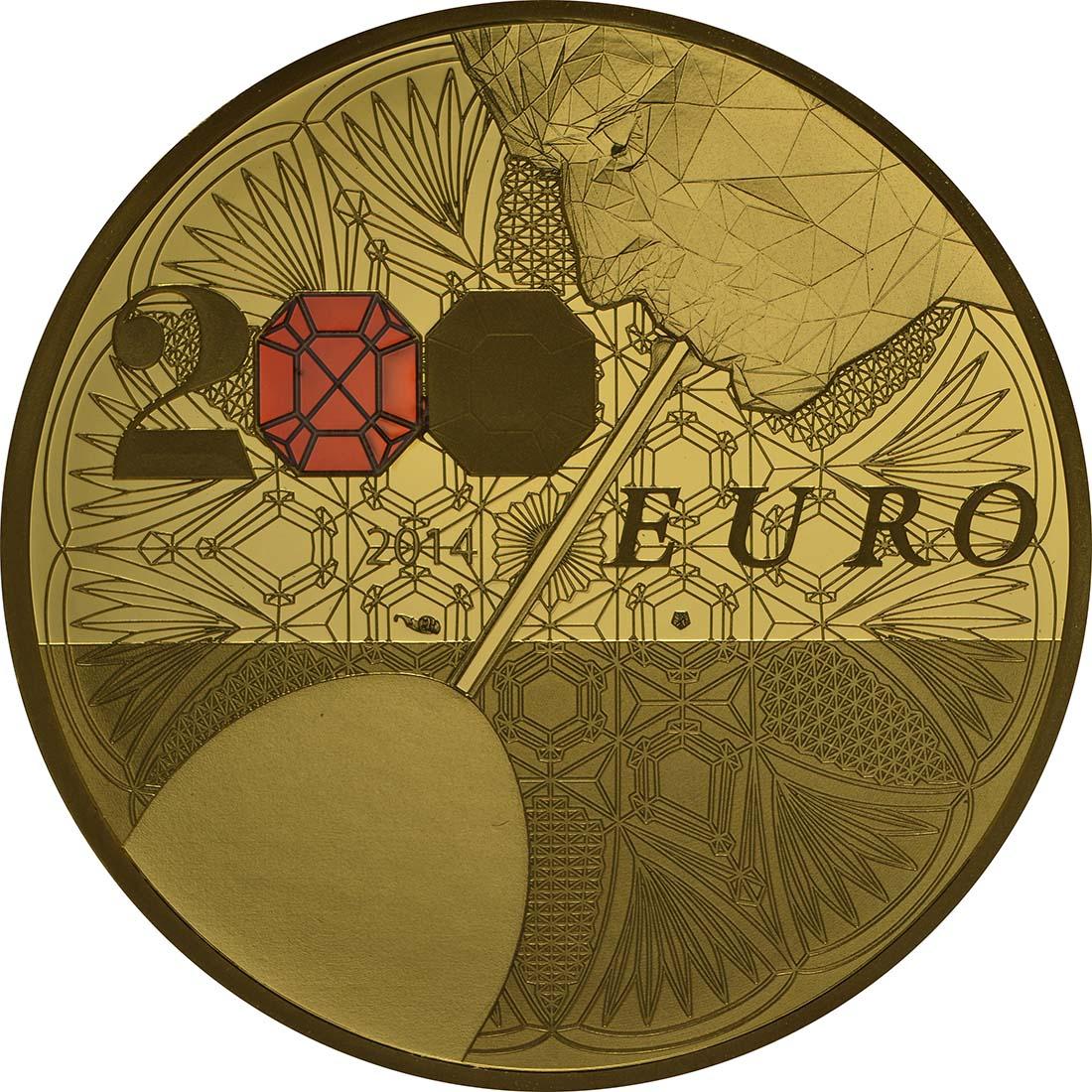 Vorderseite:Frankreich : 200 Euro 250 Jahre Baccarat Kristallglasmanufaktur  2014 PP