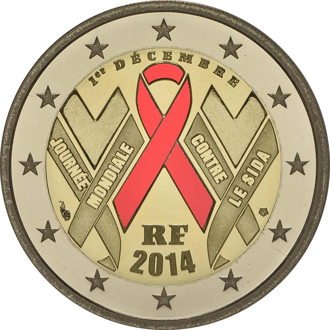 Rückseite :Frankreich : 2 Euro Welt AIDS Tag  2014 PP