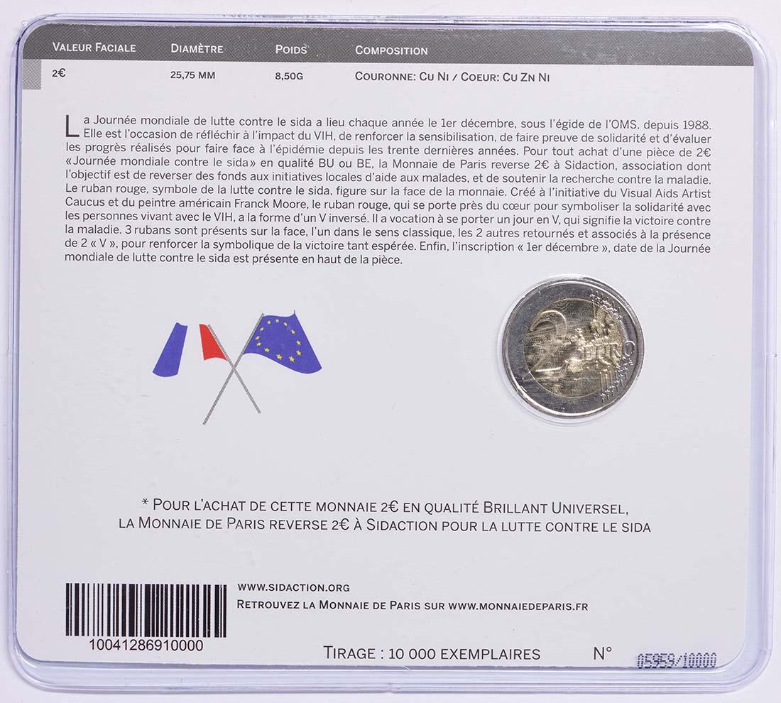 Zertifikat :Frankreich : 2 Euro Welt AIDS Tag  2014 Stgl.