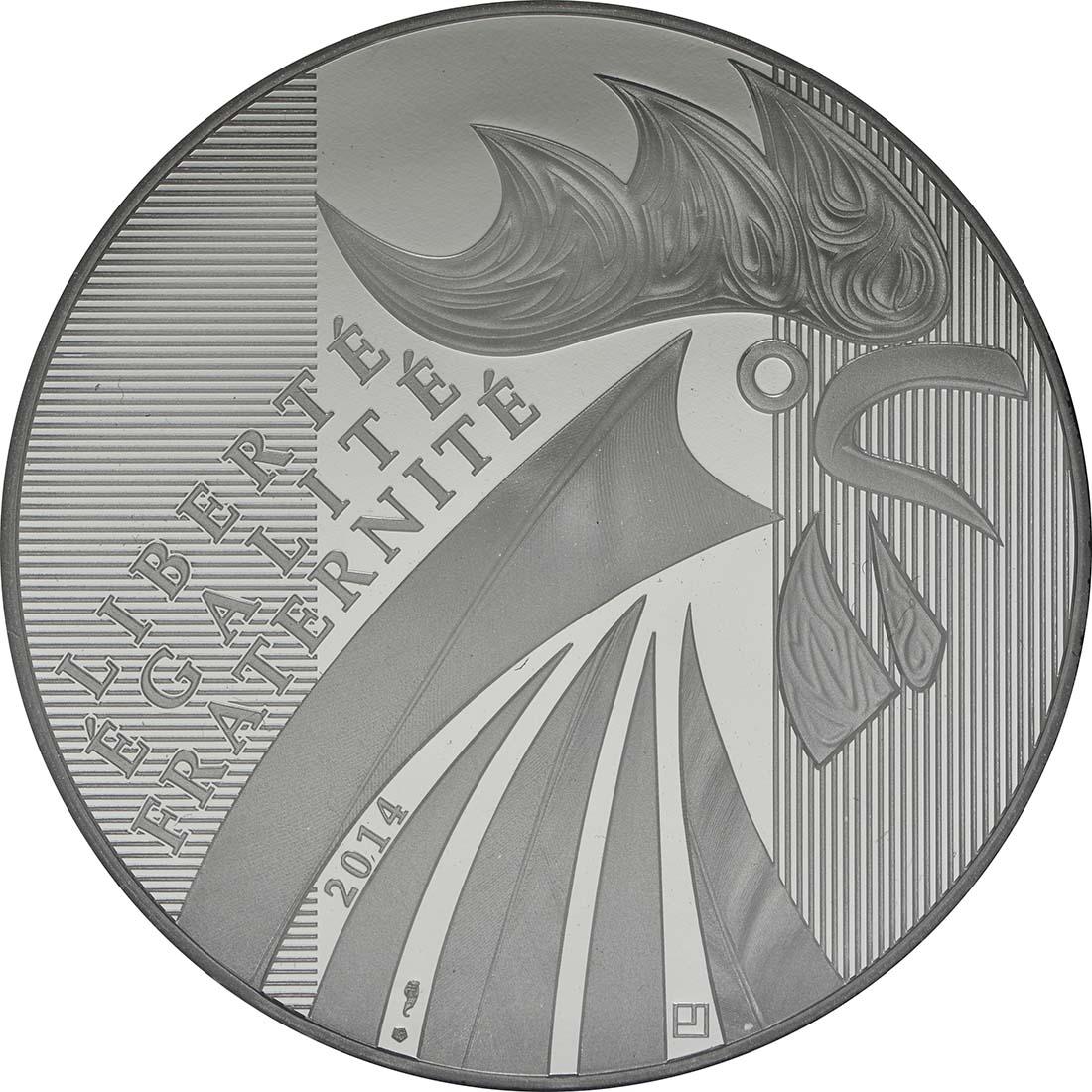 Vorderseite:Frankreich : 100 Euro Gallischer Hahn  2014 Stgl.