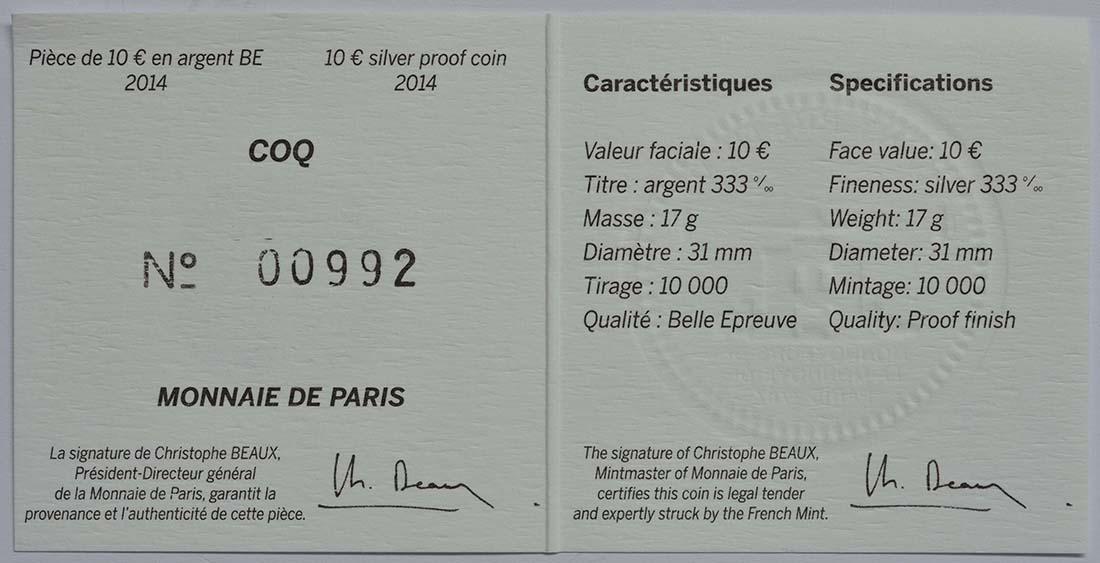 Zertifikat:Frankreich : 10 Euro Gallischer Hahn  2014 PP