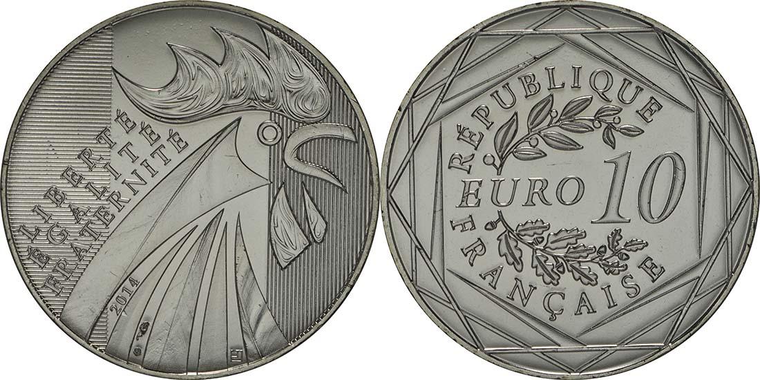 Lieferumfang:Frankreich : 10 Euro Gallischer Hahn  2014 Stgl.