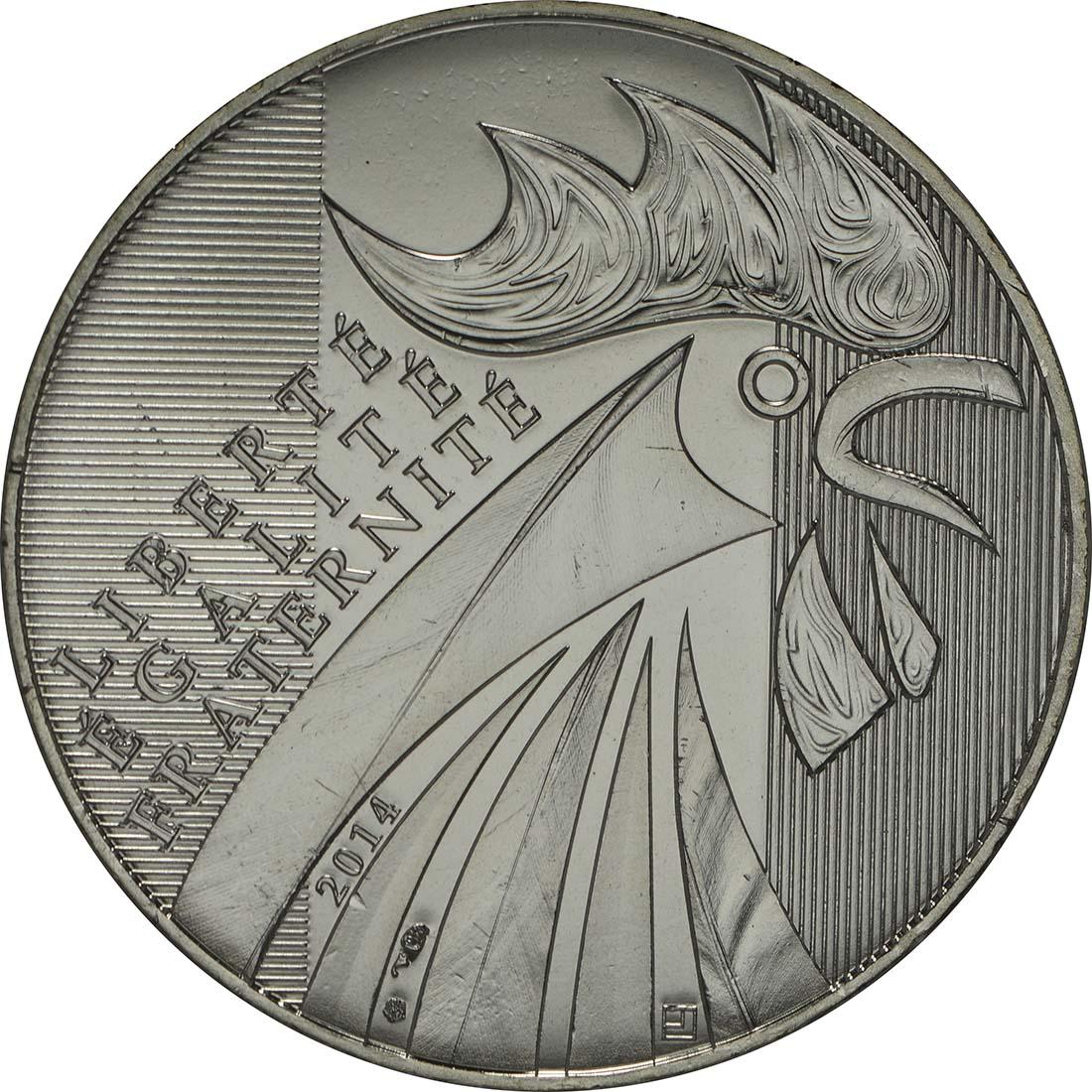 Vorderseite:Frankreich : 10 Euro Gallischer Hahn  2014 Stgl.