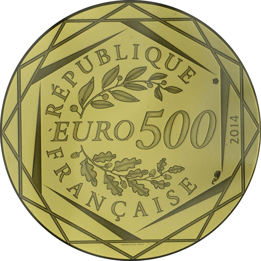Rückseite:Frankreich : 500 Euro Sempé  2014 Stgl.