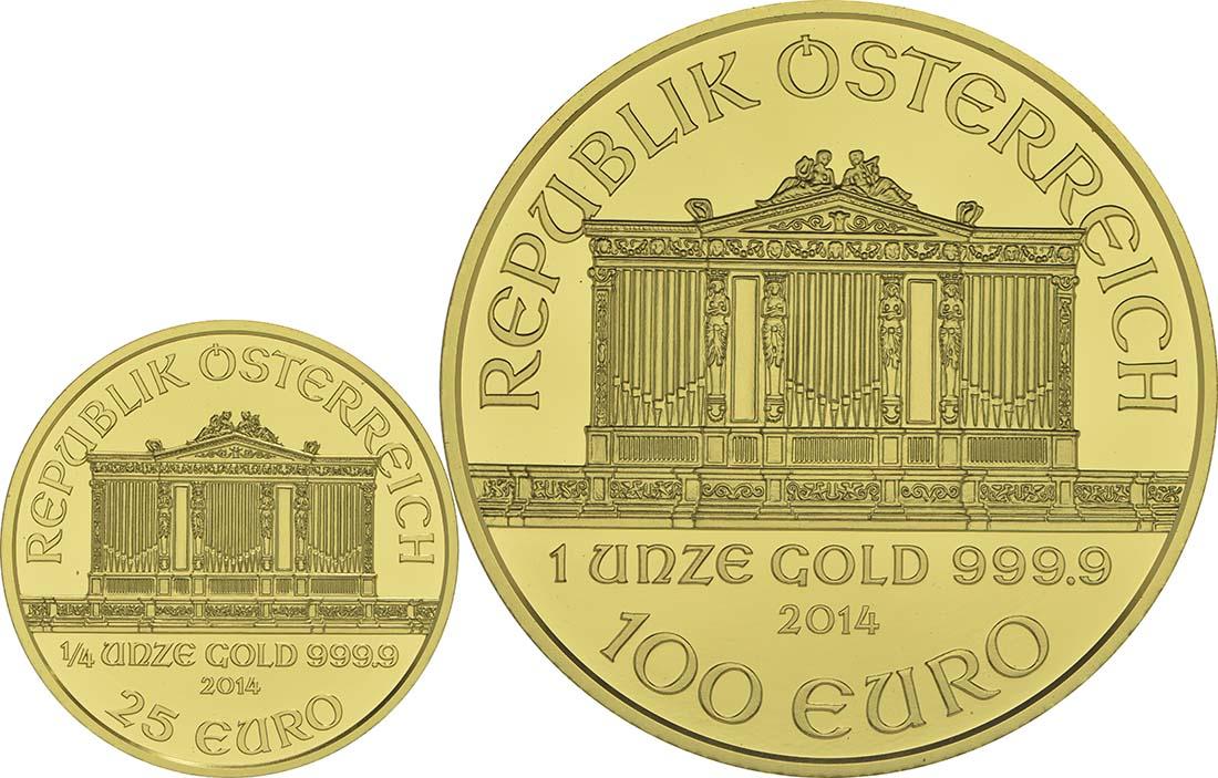 Rückseite:Österreich : 125 Euro 25 Jahre Wiener Philharmoniker in Gold 1x100 Euro , 1x25 Euro = 1 1/4 Unzen Gold  2014 PP