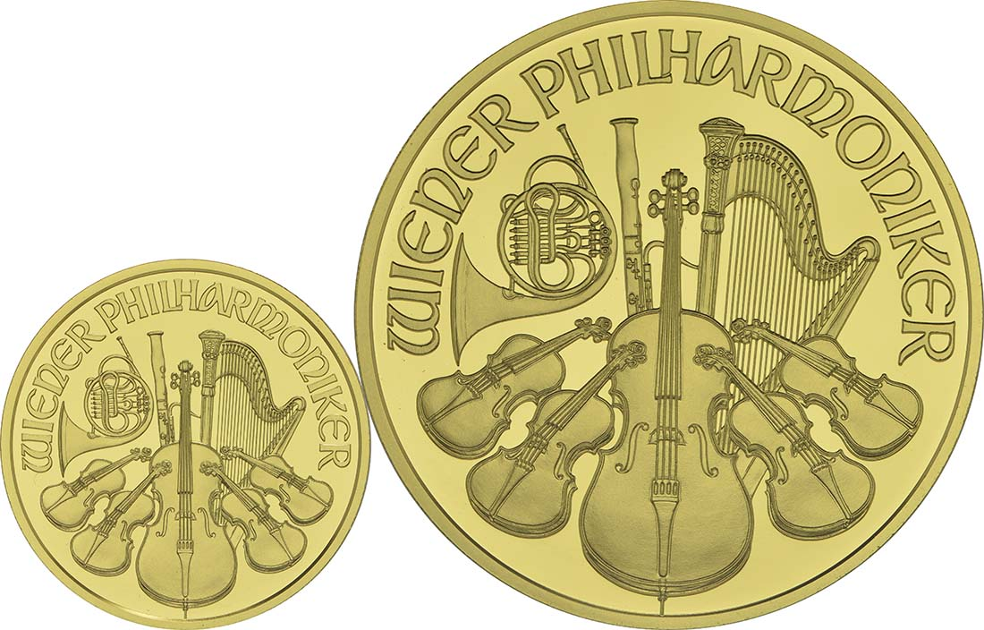 Vorderseite:Österreich : 125 Euro 25 Jahre Wiener Philharmoniker in Gold 1x100 Euro , 1x25 Euro = 1 1/4 Unzen Gold  2014 PP