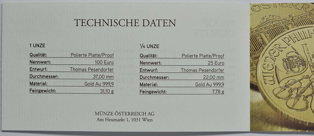 Zertifikat:Österreich : 125 Euro 25 Jahre Wiener Philharmoniker in Gold 1x100 Euro , 1x25 Euro = 1 1/4 Unzen Gold  2014 PP