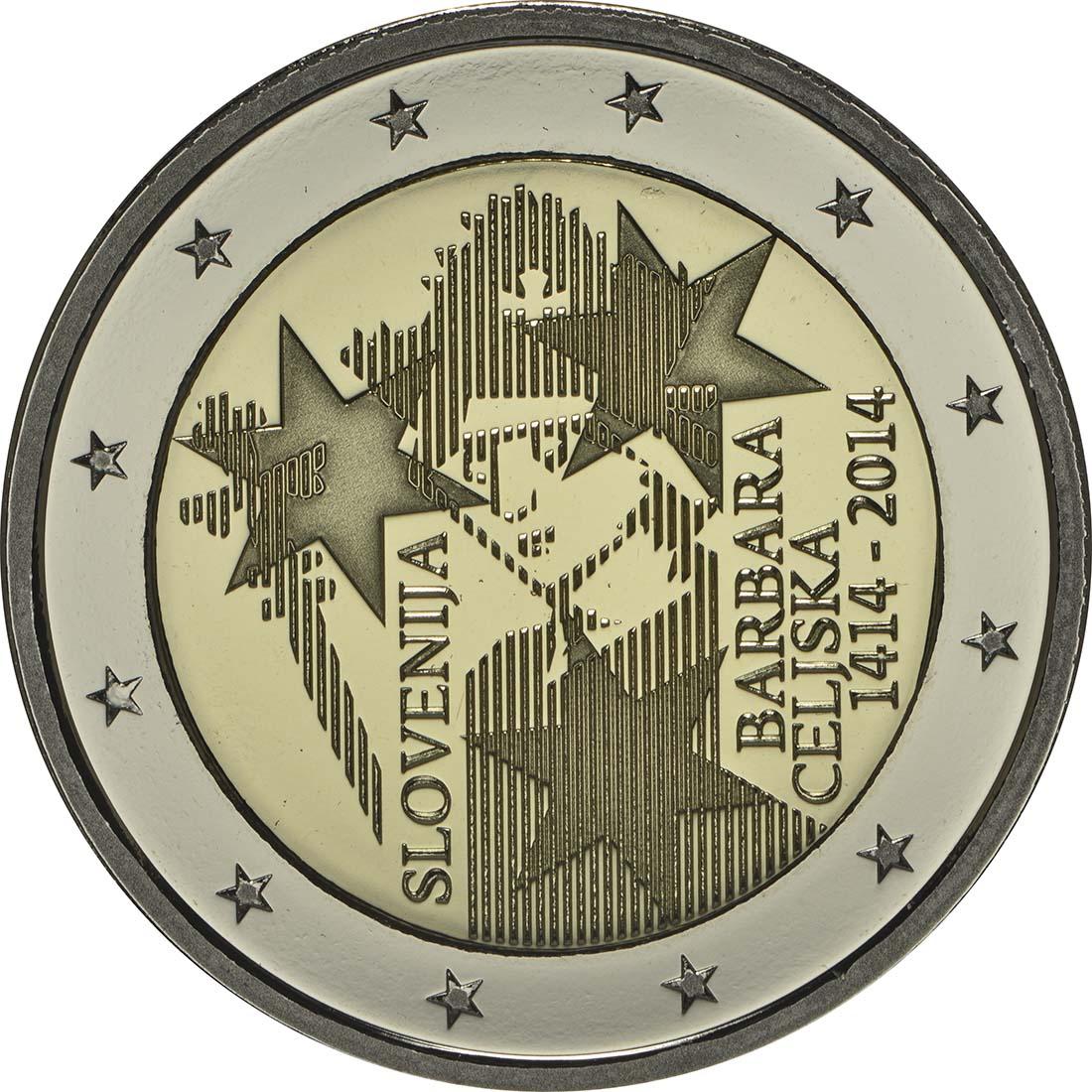 Rückseite :Slowenien : 2 Euro Jahrestag der Krönung von Barbara von Cilli  2014 PP