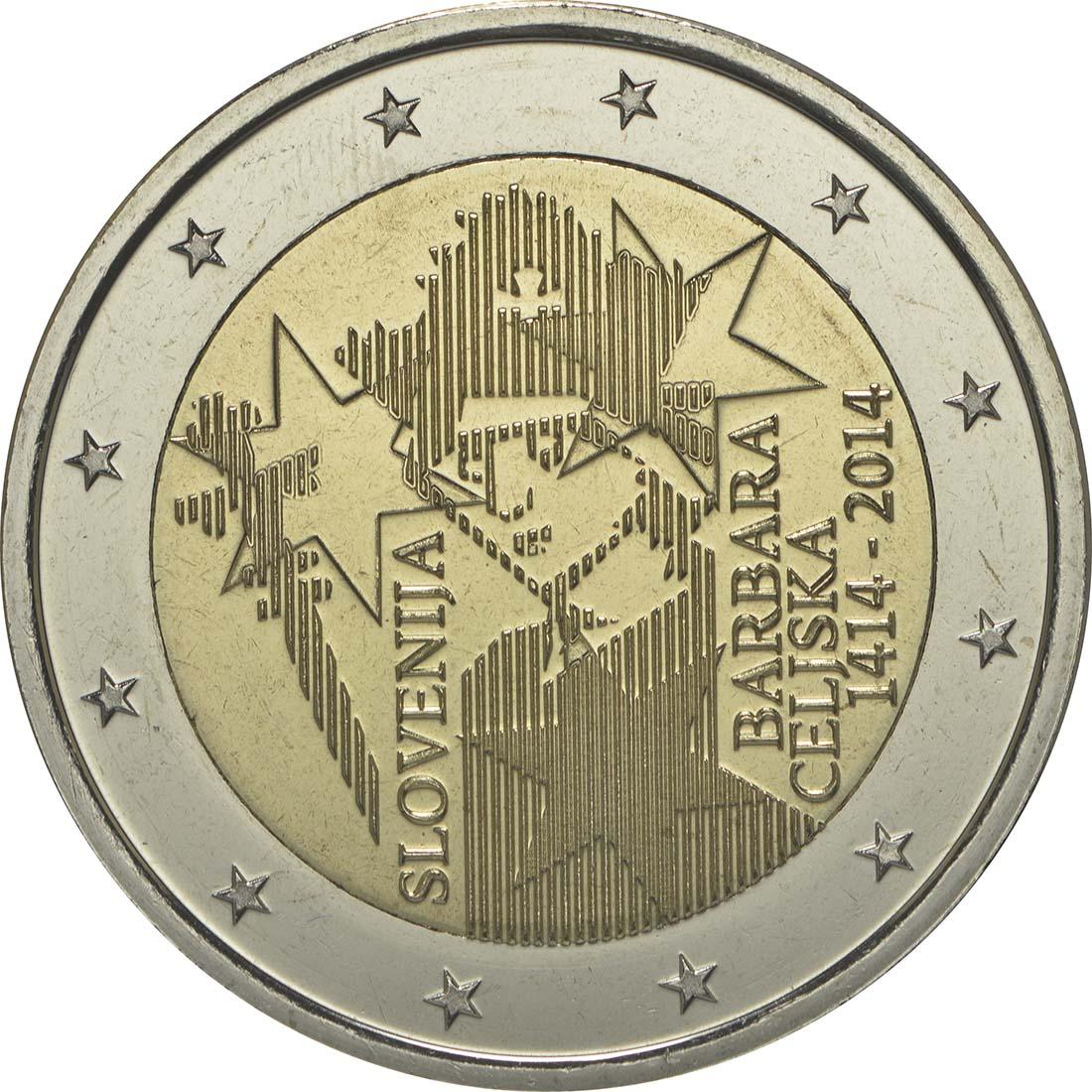 Rückseite :Slowenien : 2 Euro Jahrestag der Krönung von Barbara von Cilli  2014 bfr