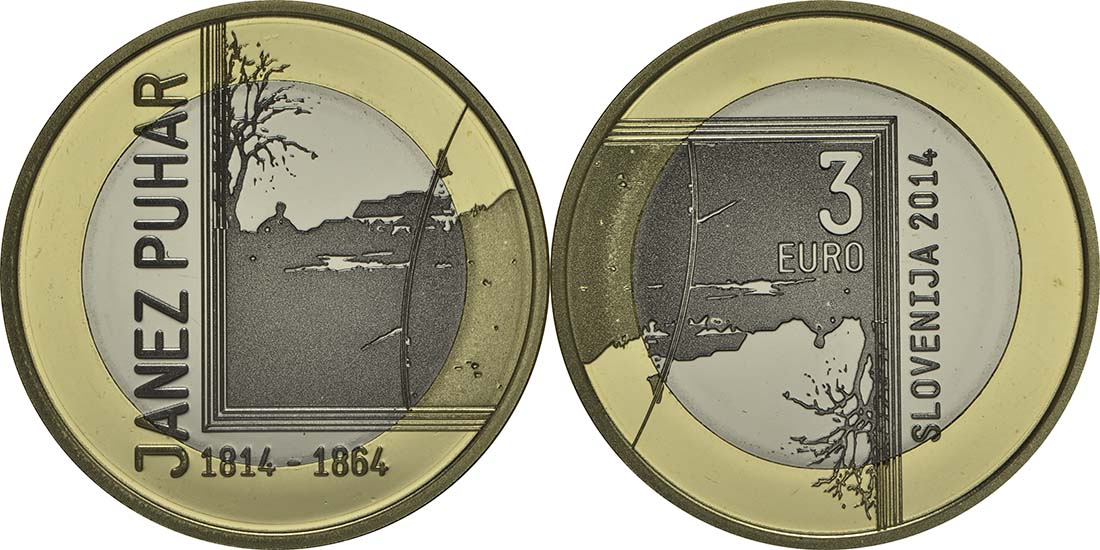 Lieferumfang:Slowenien : 3 Euro 200. Jahrestag der Geburt des Fotografen Janez Puhar  2014 PP