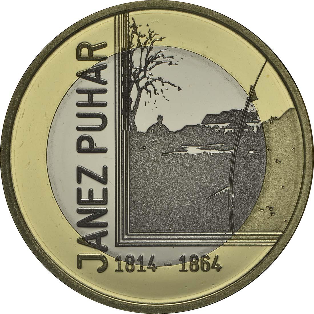 Vorderseite:Slowenien : 3 Euro 200. Jahrestag der Geburt des Fotografen Janez Puhar  2014 PP