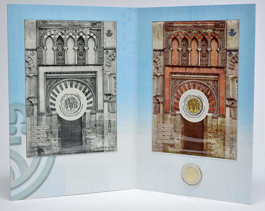 Übersicht:Spanien : 2 Euro Cordoba + Briefmarke  2010 Stgl.