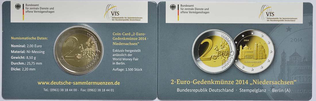 Zertifikat :Deutschland : 2 Euro Niedersachsen - Michaeliskirche Hildesheim  2014 Stgl.