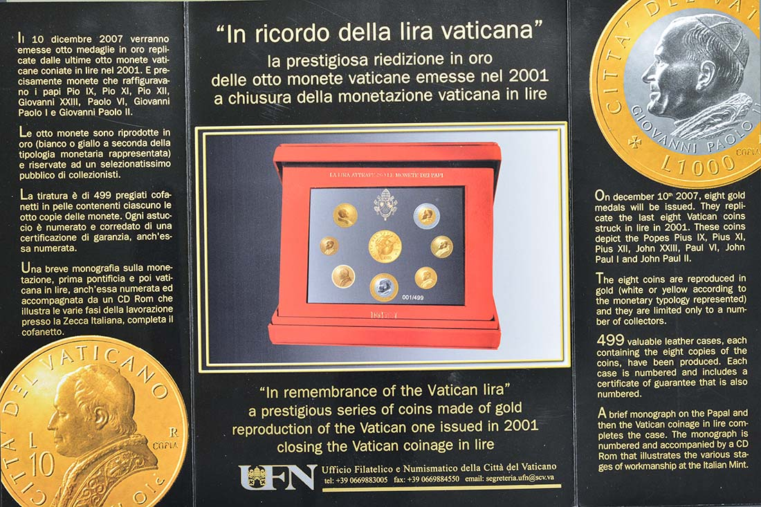 Vorderseite:Vatikan : 8 Medaillen 8 Goldmedaillen zur Erinnerung an die letzten Lira-Münzen 2001. Abgebildet sind Pius IX, Pius XI, Pius XII, Johannes XXIII, Paul VI, Johannes Paul I, Johannes Paul II.  2007 PP
