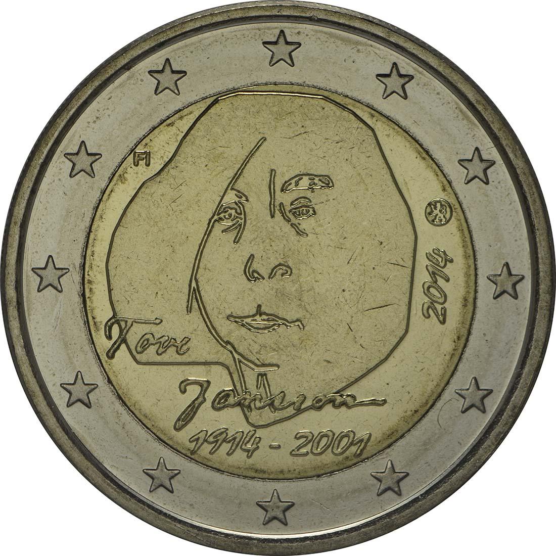 Rückseite :Finnland : 2 Euro Tove Jansson  2014 bfr