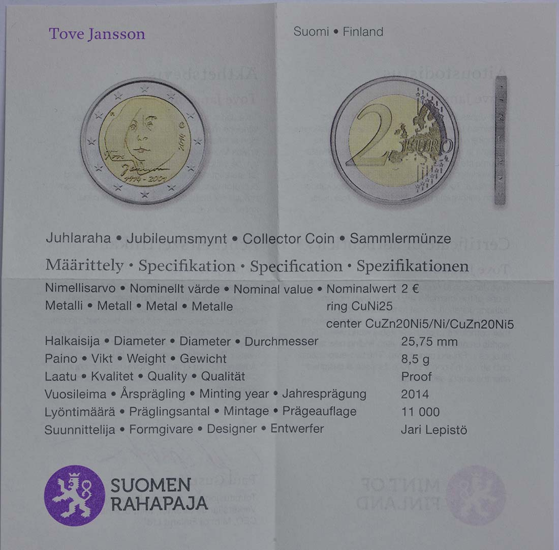 Zertifikat :Finnland : 2 Euro Tove Jansson  2014 PP