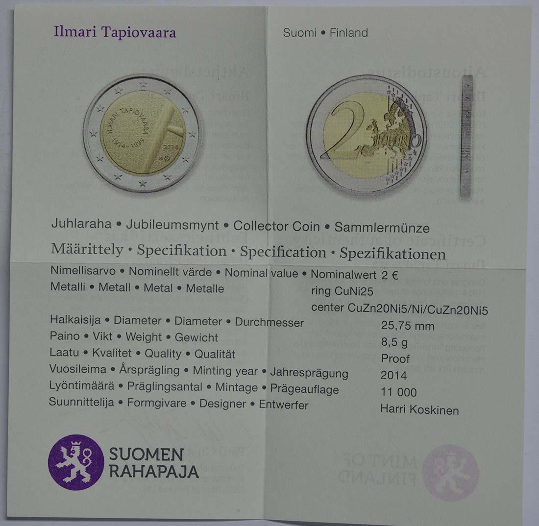 Zertifikat:Finnland : 2 Euro Tapiovaara  2014 PP