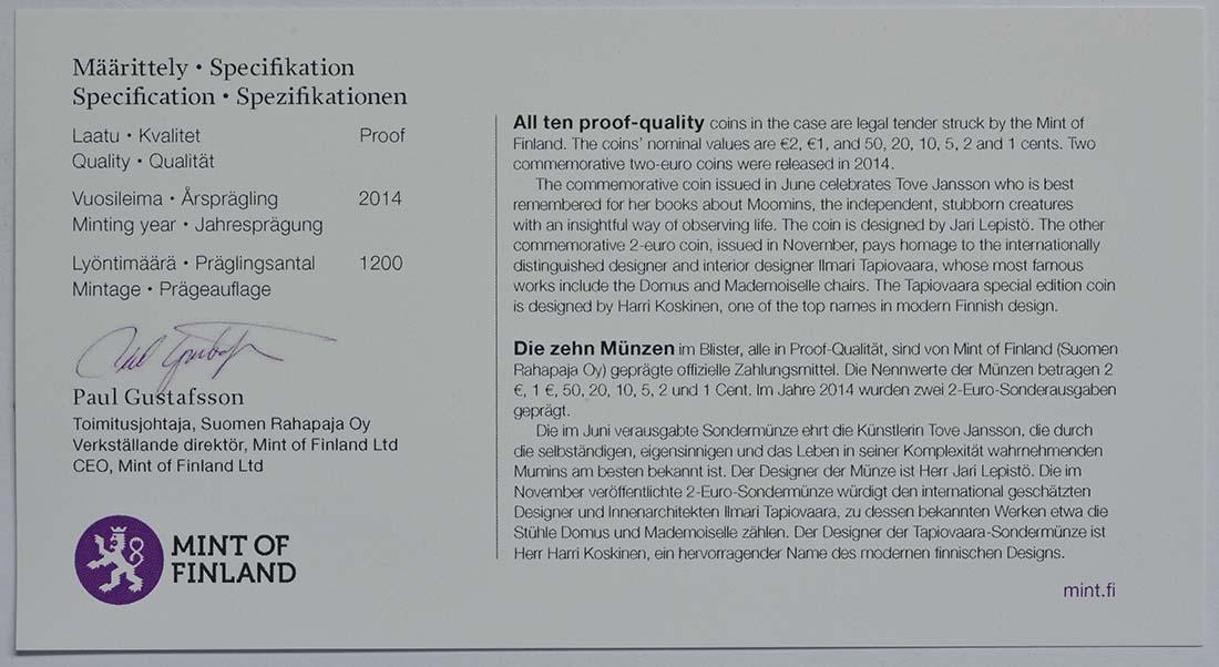 Zertifikat:Finnland : 7,88 Euro KMS Finnland  2014 PP
