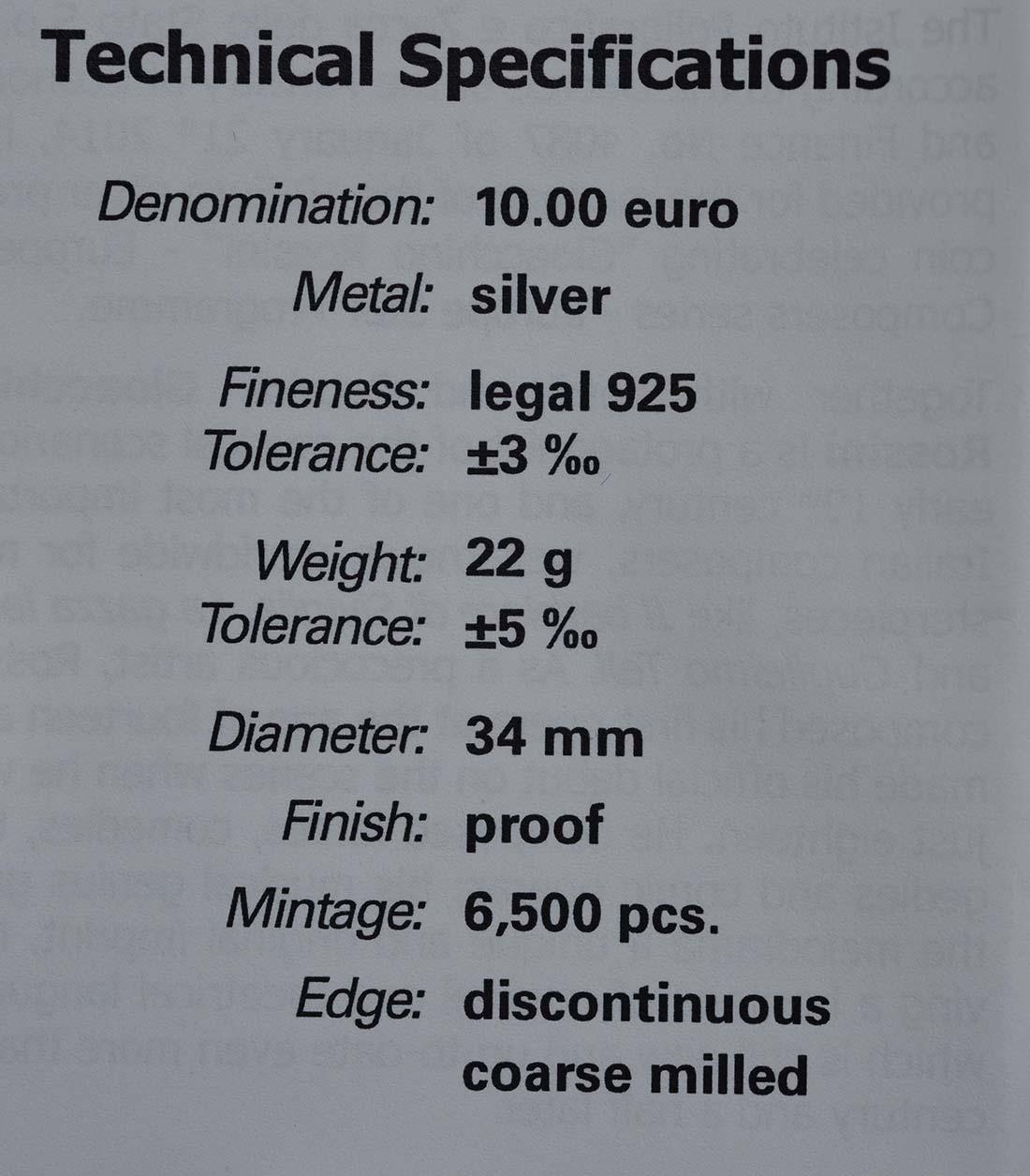 Zertifikat:Italien : 10 Euro Gioacchina Rossini  2014 PP