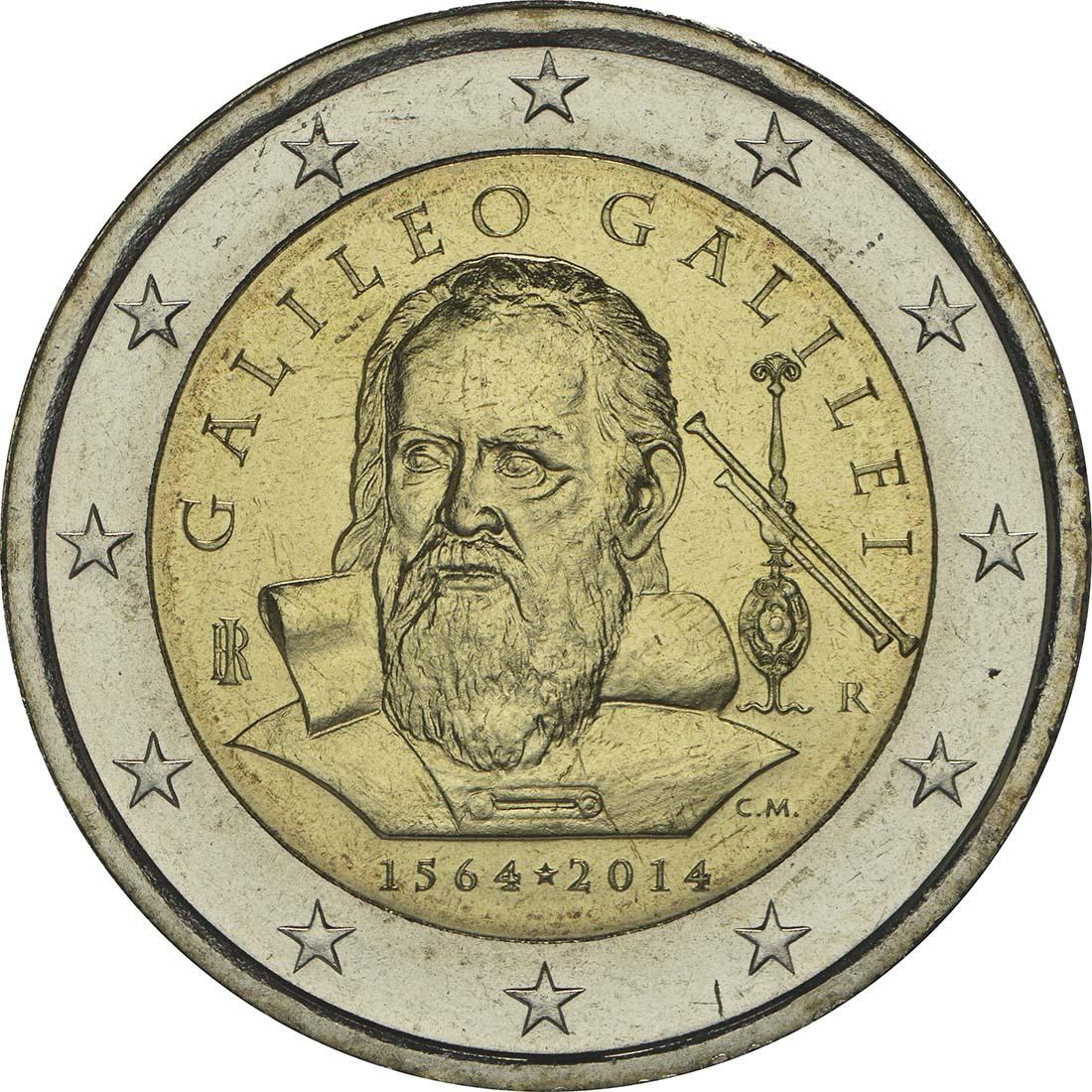 Rückseite:Italien : 2 Euro Galileo Galilei  2014 bfr