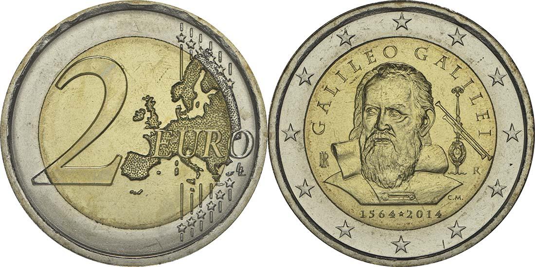 Italien : 2 Euro Galileo Galilei  2014 bfr