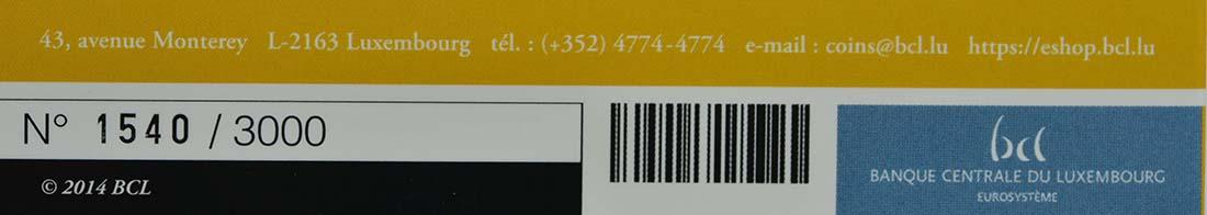 Zertifikat:Luxemburg : 5 Euro Burg Larochette  2014 PP