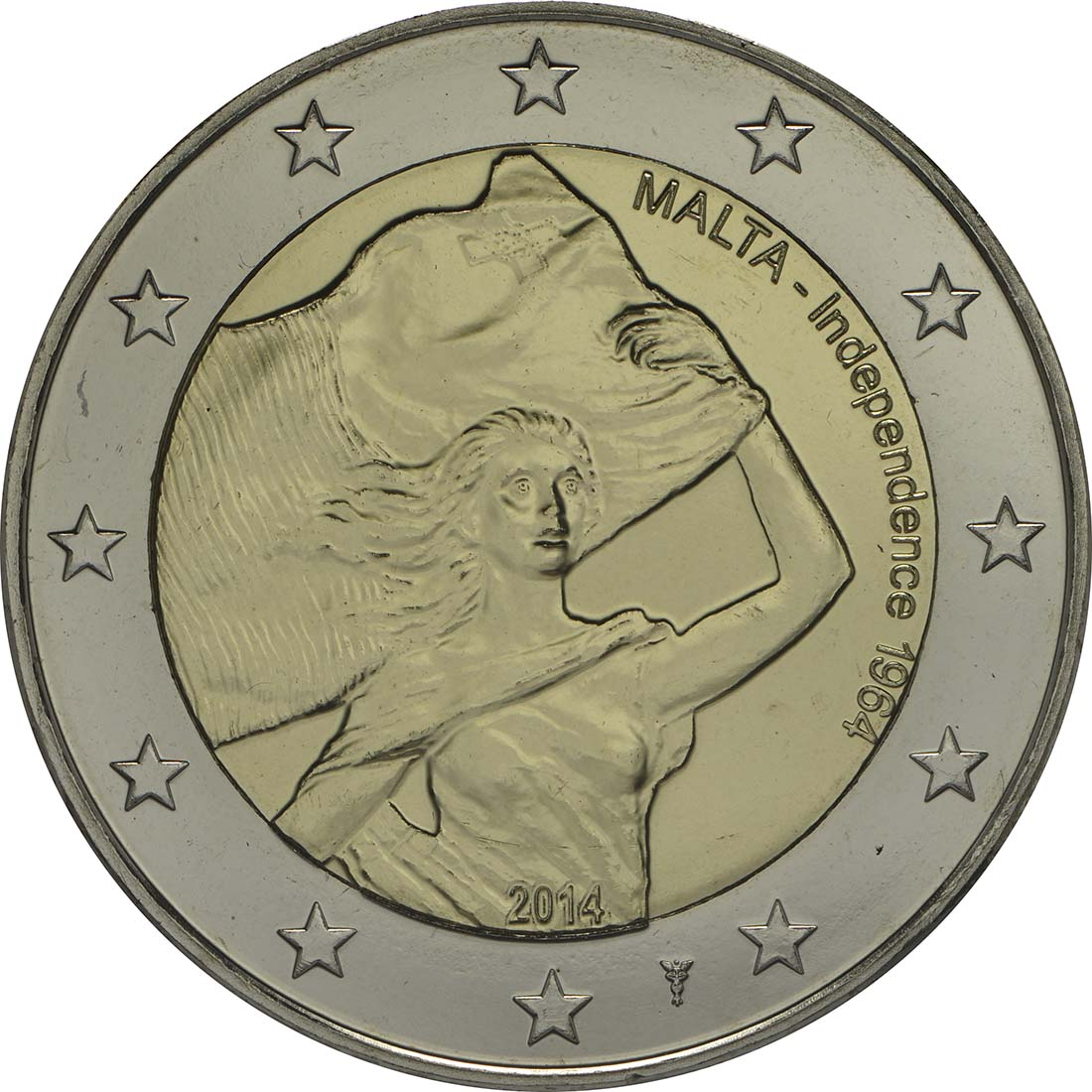 Rückseite:Malta : 5,88 Euro KMS Malta inkl. 2 Euro Gedenkmünze Unabhängigkeit  2014 Stgl.