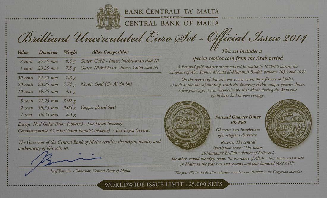 Zertifikat:Malta : 5,88 Euro KMS Malta inkl. 2 Euro Gedenkmünze Unabhängigkeit  2014 Stgl.
