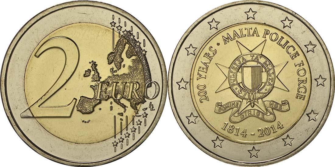 Lieferumfang:Malta : 2 Euro 200 Jahre Polizei in Malta  2014 bfr