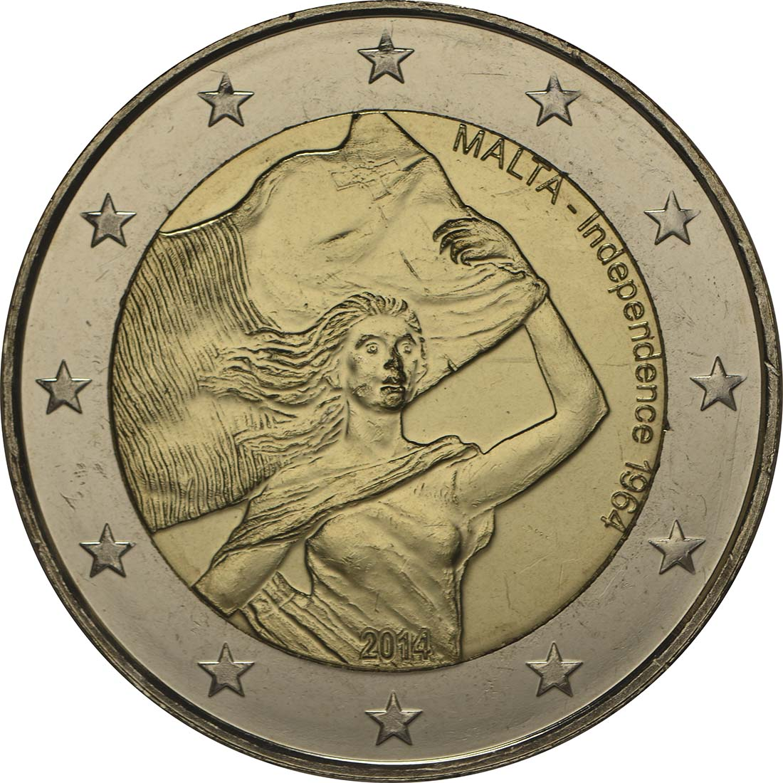 Rückseite:Malta : 2 Euro Unabhängigkeit 1964  2014 bfr