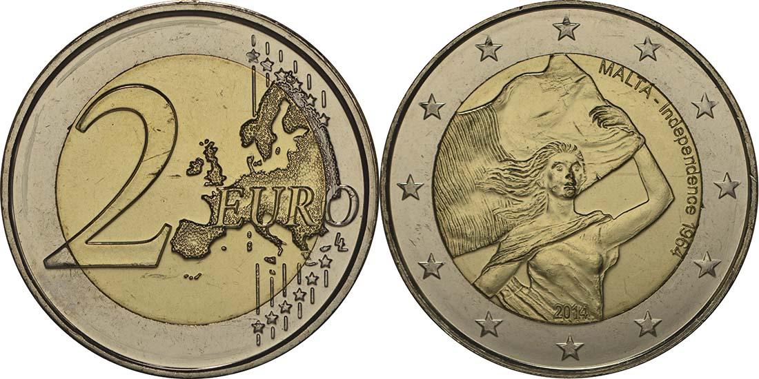 Malta : 2 Euro Unabhängigkeit 1964  2014 bfr