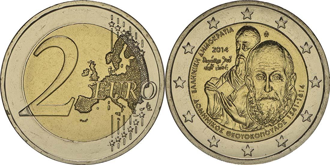 Griechenland : 2 Euro Domenikos Theotokopoulos El Greco  2014 bfr