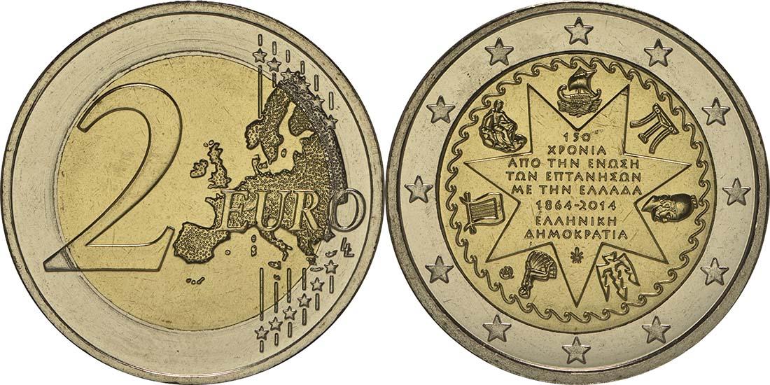 Griechenland : 2 Euro 150 Jahre Union der Ionischen Inseln mit Griechenland  2014 bfr