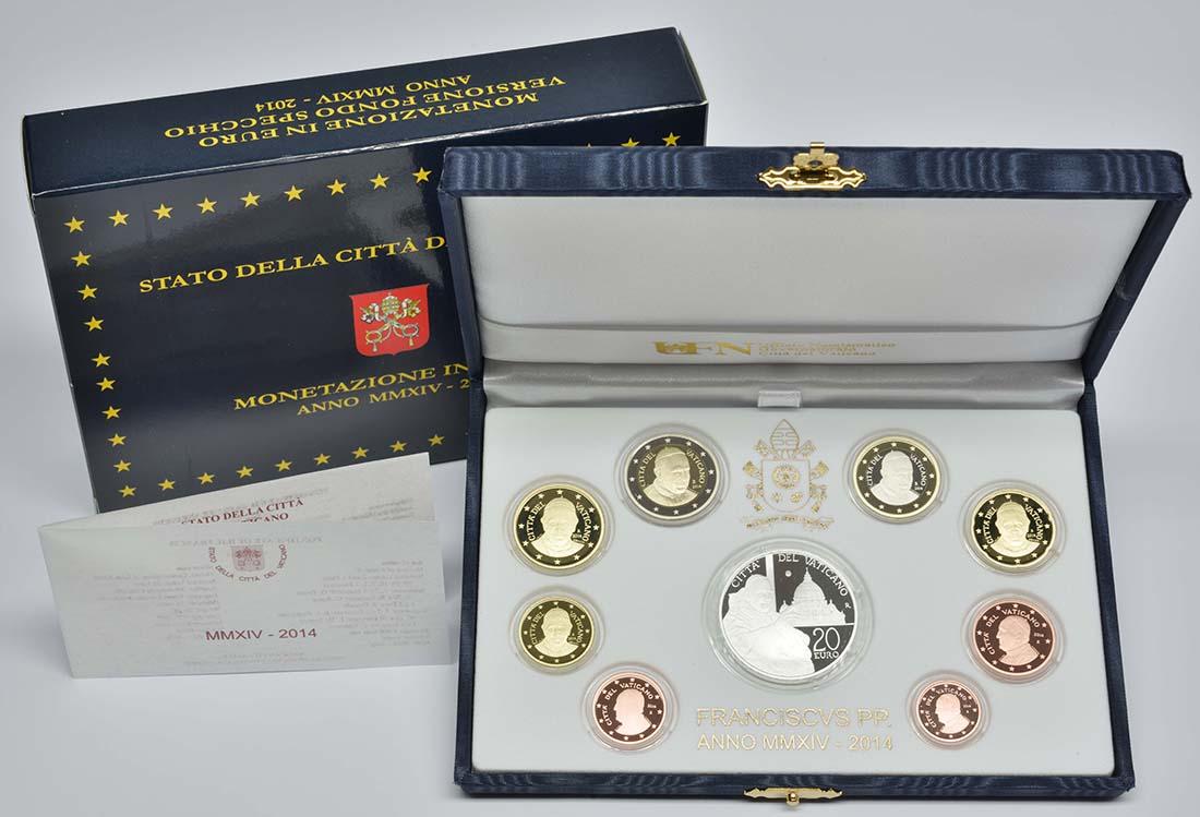 Lieferumfang:Vatikan : 23,88 Euro KMS Vatikan mit 20 Euro Gedenkmünze Heiligsprechung Papst Johannes XXIII  2014 PP