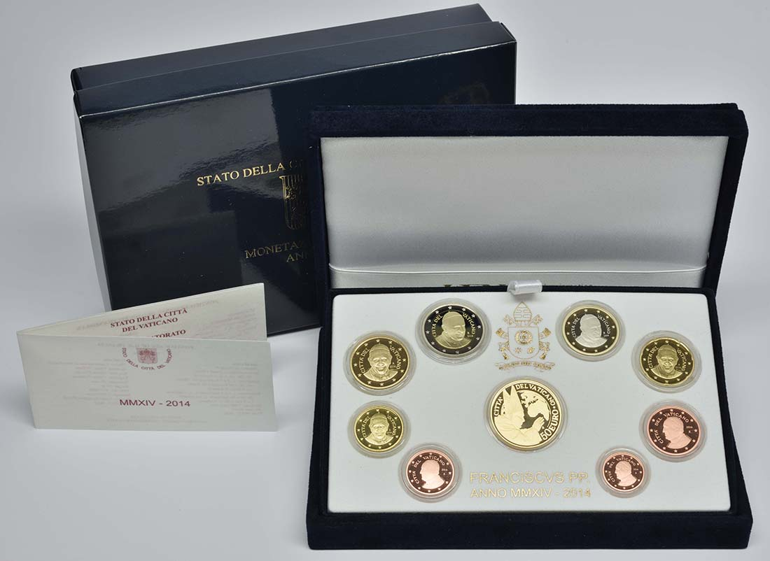 Lieferumfang:Vatikan : 53,88 Euro KMS Vatikan mit 50 Euro Gedenkmünze Heiligsprechung Papst Johannes Paul II.  2014 PP