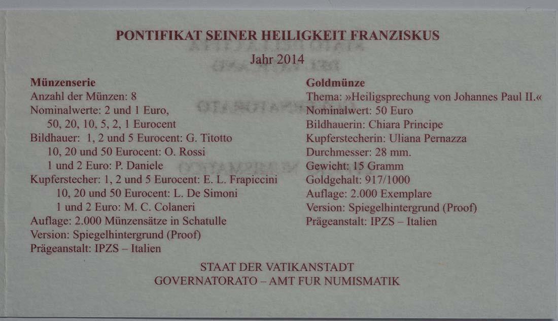 Zertifikat:Vatikan : 53,88 Euro KMS Vatikan mit 50 Euro Gedenkmünze Heiligsprechung Papst Johannes Paul II.  2014 PP