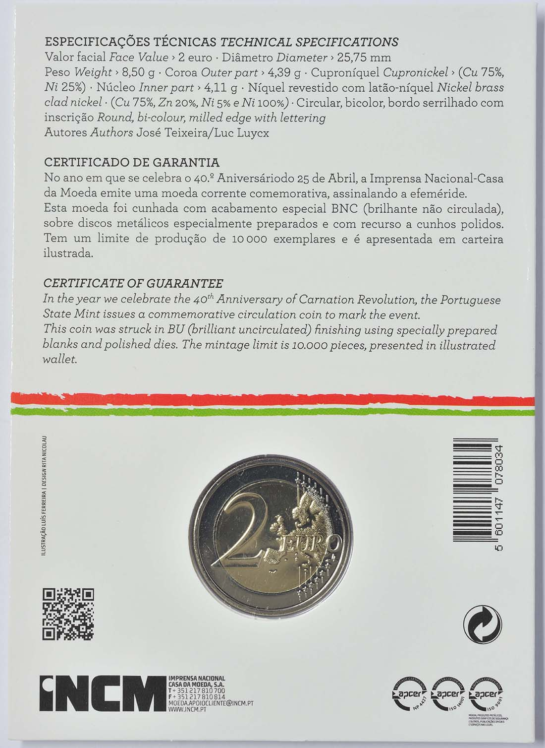 Zertifikat :Portugal : 2 Euro Nelkenrevolution  2014 Stgl.