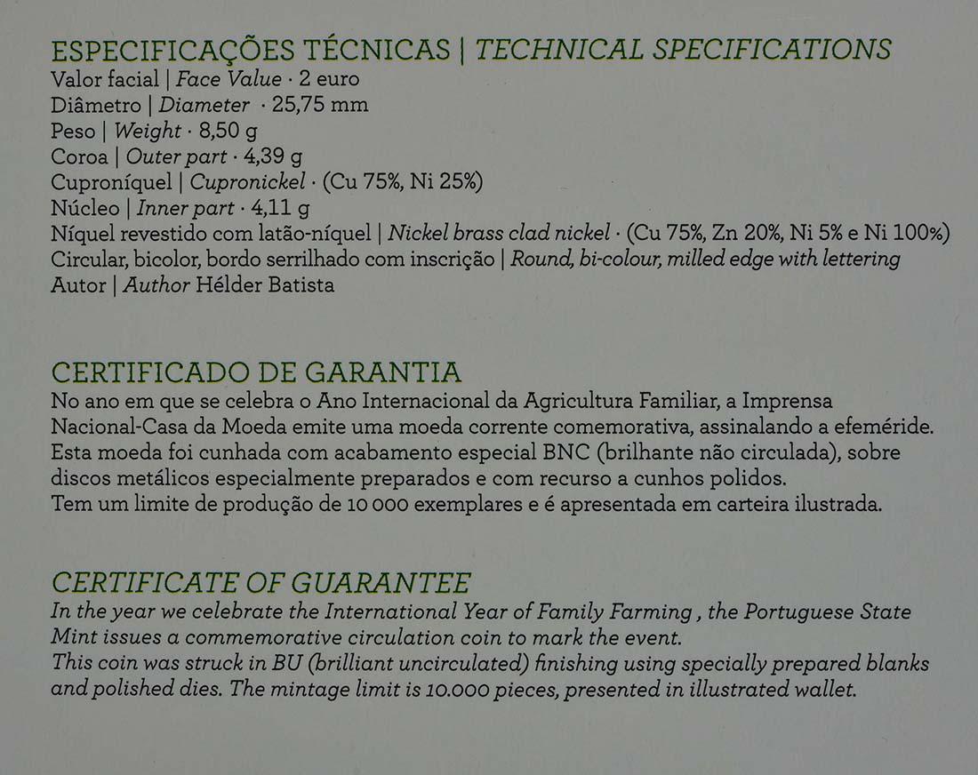 Zertifikat :Portugal : 2 Euro Internationales Jahr der familiären Landwirtschaft  2014 Stgl.
