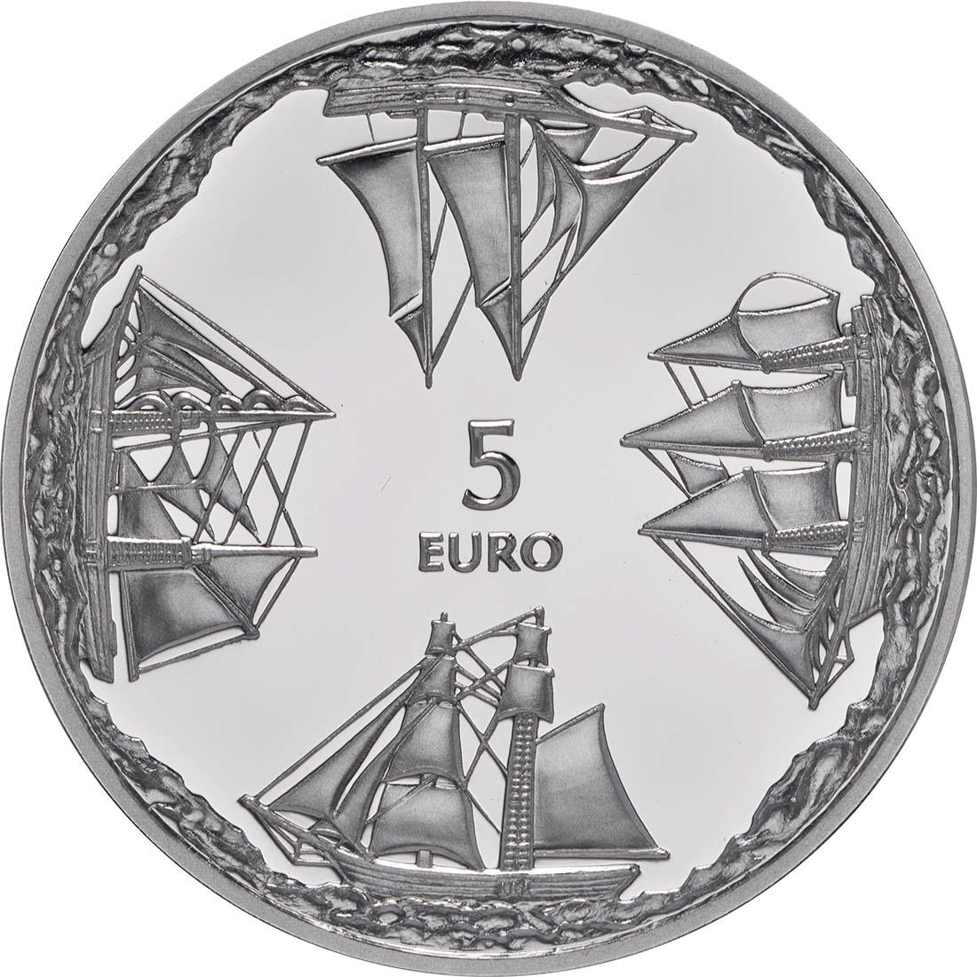 Rückseite:Lettland : 5 Euro 150 Jahre Ainazi Marineschule  2014 PP
