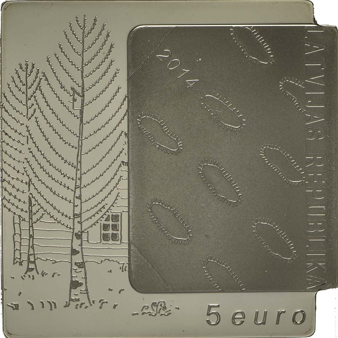 Rückseite:Lettland : 5 Euro Das Weiße Buch von Janis Jaunsudrabins  2014 PP