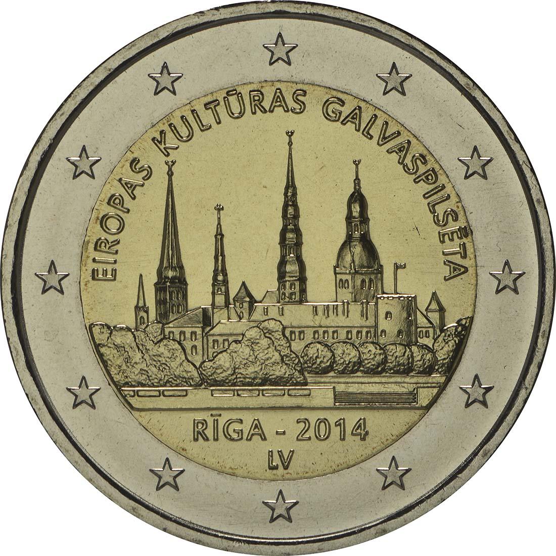 Rückseite :Lettland : 2 Euro Riga Kulturhauptstadt  2014 bfr
