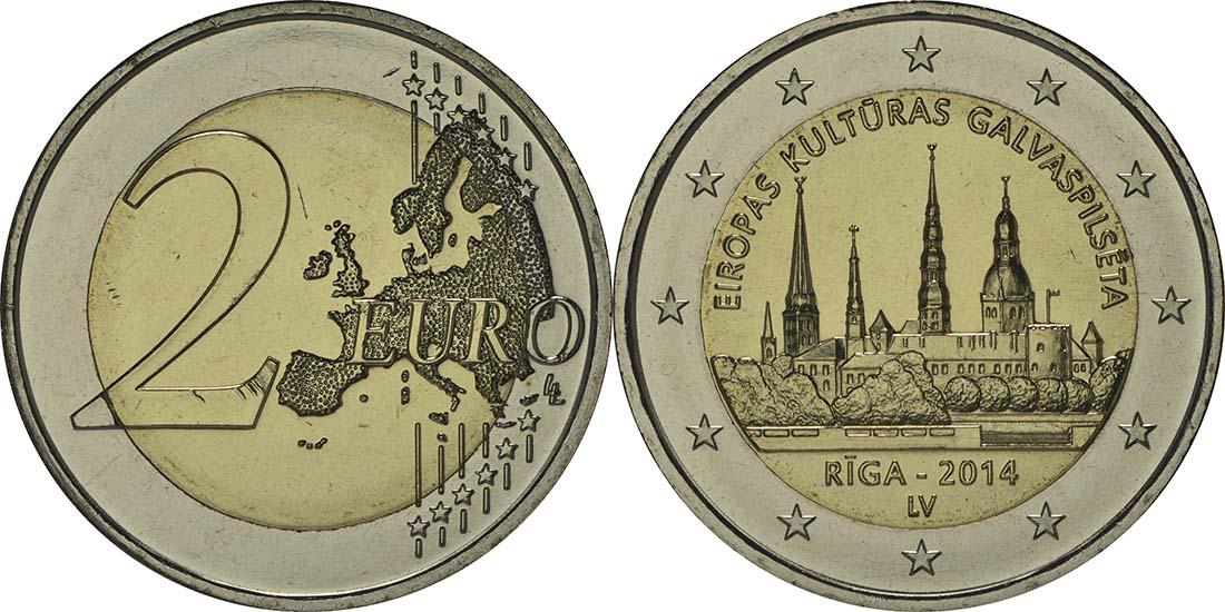 Lettland : 2 Euro Riga Kulturhauptstadt  2014 bfr
