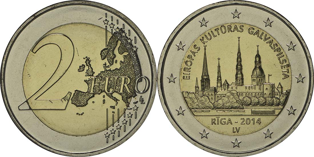 Lieferumfang:Lettland : 2 Euro Riga Kulturhauptstadt  2014 bfr