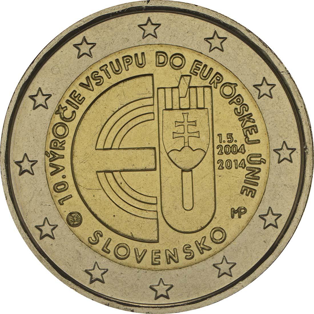Rückseite :Slowakei : 2 Euro 10. Jahrestag EU-Beitritt  2014 bfr