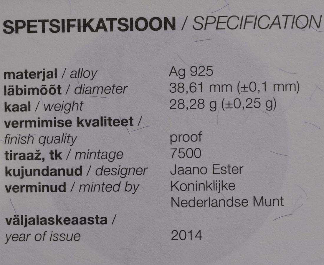 Zertifikat:Estland : 10 Euro 150. Geburtstag Miina Härma  2014 PP
