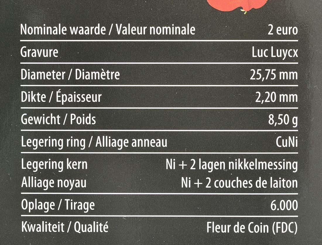 Zertifikat :Belgien : 2 Euro 100. Jahrestag des Beginns des 1. Weltkrieges  2014 Stgl.