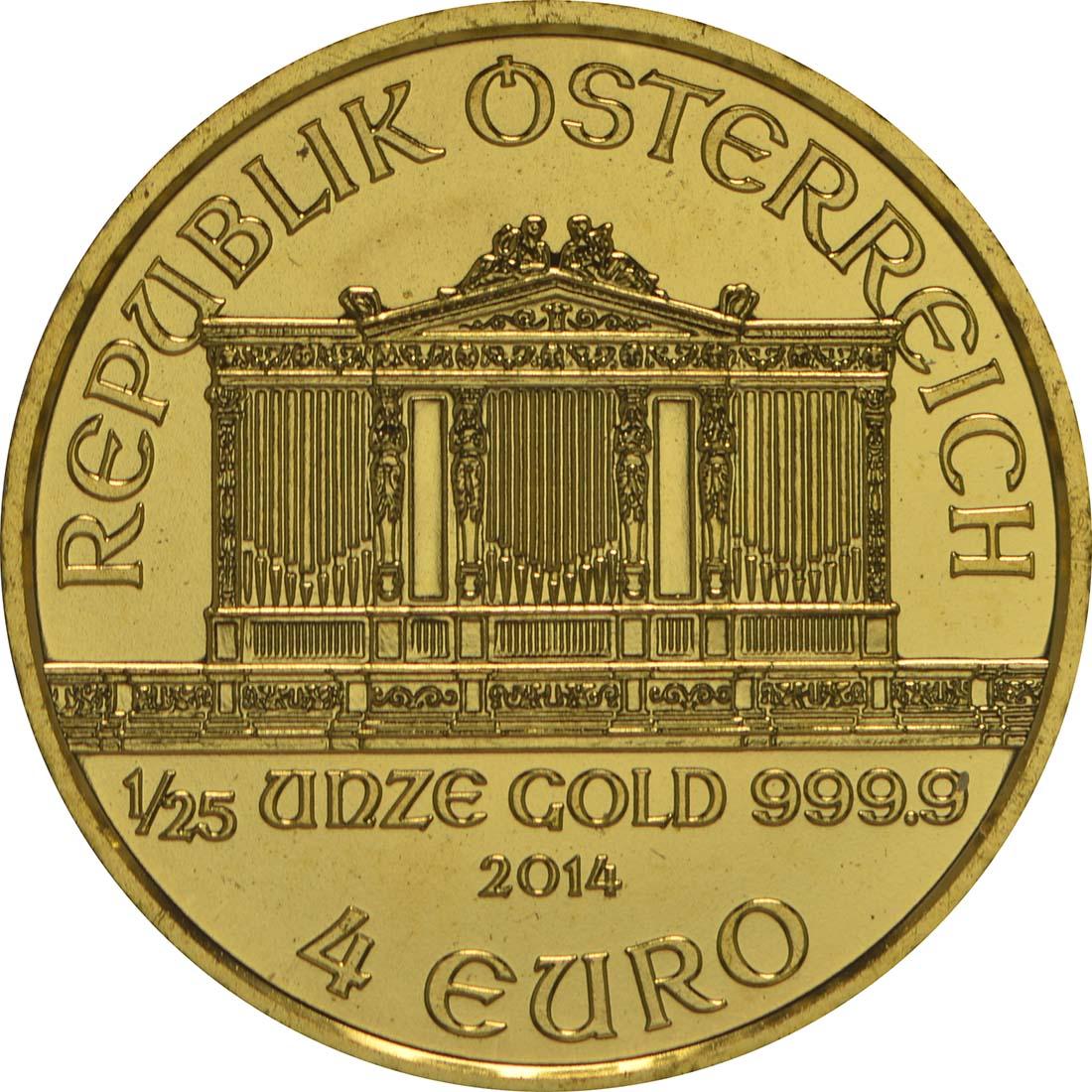 Vorderseite:Österreich : 4 Euro Philharmoniker  2014 Stgl.