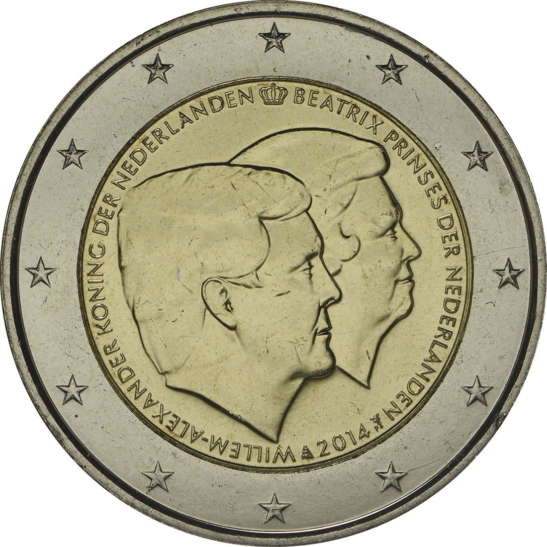 Rückseite:Niederlande : 2 Euro Doppelportrait  2014 bfr