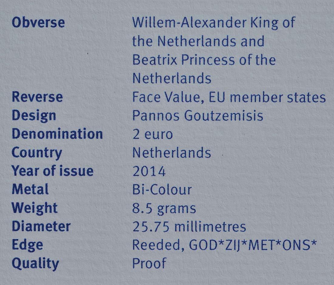 Zertifikat:Niederlande : 2 Euro Doppelportrait  2014 PP